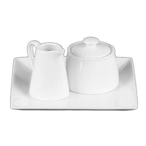 Holst Porzellan AT 020 FA1 Milch & Zucker Menage Set 3-tlg. quadr. 19 x 19 cm, weiß, 19 x 19 x 9 cm