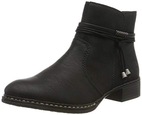 Rieker Damen Stiefeletten 73488, Frauen Ankle Boots, Freizeit leger Stiefel halbstiefel Bootie knöchelhoch Damen Frauen,schwarz / 00,40 EU / 6.5 UK