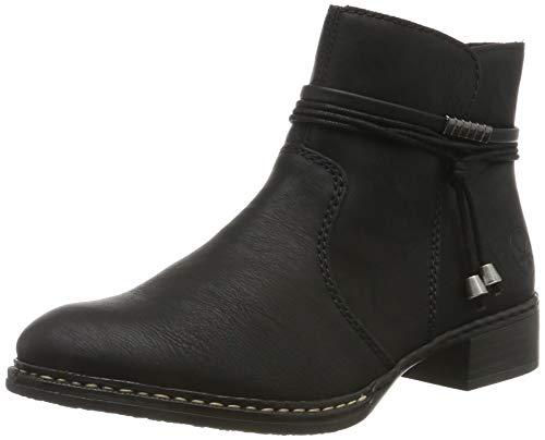 Rieker Damen Stiefeletten 73488, Frauen Ankle Boots, leger Stiefel halbstiefel Bootie knöchelhoch reißverschluss Damen,schwarz / 00,38 EU / 5 UK