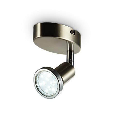 B.K.Licht I LED Deckenleuchte I Deckenspot I Wandspot I inkl. 3W GU10 warmweiß I Schwenkbar I 1-flammig I Matt-Nickel