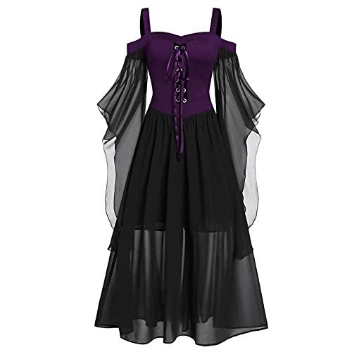 Sheey Vestido Mujer Malla Cabestro, Mangas de Mariposa Vestidos de Encaje, Tallas Grande Ropa de Mujer para Otoño Verano Fiesta Inicio Trabajo