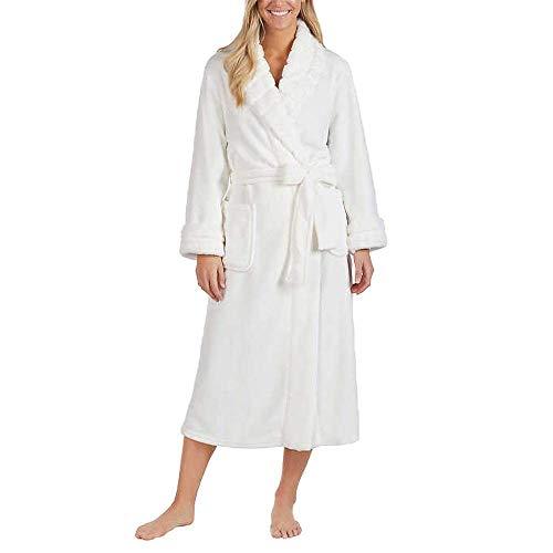 Carole Hochman Women's Plush Wrap Robe, Ivory, Medium