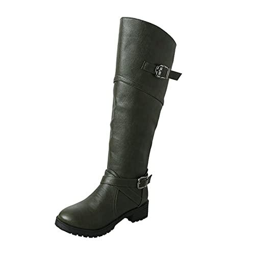 YWLINK Botas Nuevas Para Mujer Hasta La Rodilla Botas Altas De Invierno Forro De Piel Botas Altas Zapatos Planos CáLidos Botas Anchas Retro Zapatos Casuales,Negro Botas Con Hebilla (ejercito verde)