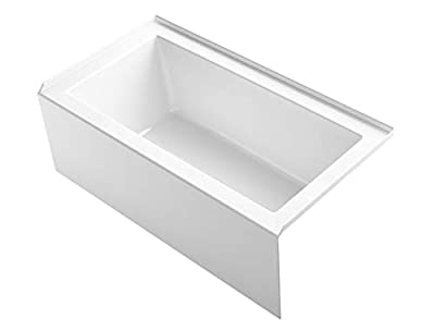 "Kohler 1957-RA-0 Underscore(R) 60"" x 32"" Bath Apron, Integral Flange and Right-Hand Drain Alcove Bathtub, White"