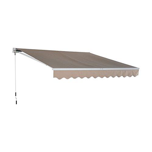 Outsunny Tenda a Braccio da Sole Avvolgibile Manuale in Poliestere Impermeabile Beige 300 x 200cm