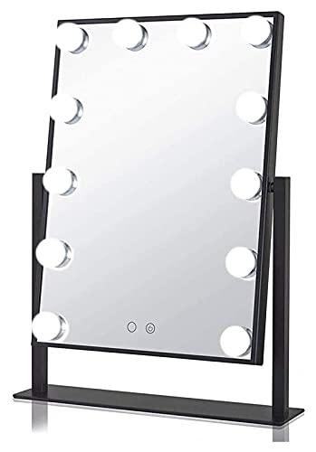 Hollywood Maquillaje Vanity Mirror Dimmable 360 ° Rotating Tabletop Espejo cosmético con 12 DIRIGIÓ Bulbos 3 modos de color interruptor de pantalla táctil baterías o USB Espejo de vanidad operado
