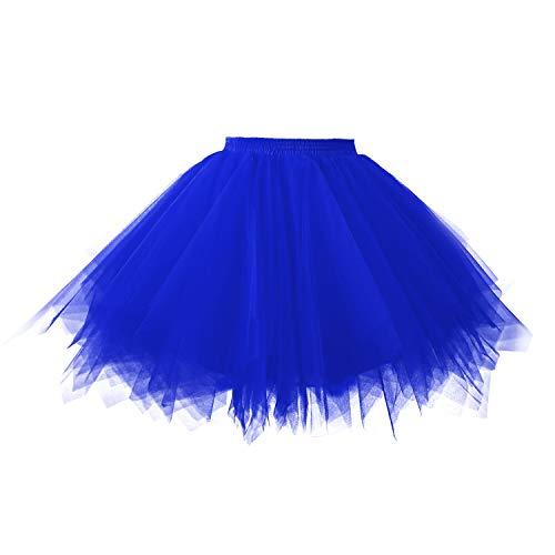 Topdress Women's 1950s Vintage Tutu Petticoat Ballet Bubble Skirt (26 Colors) Royal Blue M