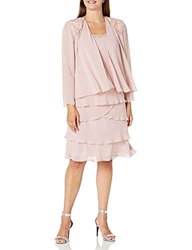 S.L. Fashions Women's Embellished Tiered Jacket Dress Regular, Faded Rose, 6 Petite