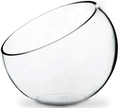 CYS EXCEL Glass Slant Cut Bubble Bowl, Fish Bowl & Plant Terrarium, Slant Cut Globe Vase Center Piece, W: 8' H: 7' (Pack of 1)