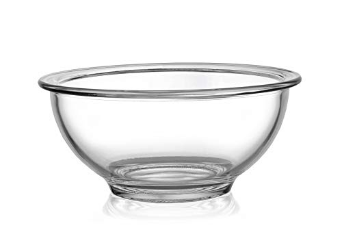 Bovado USA SMALL Glass Bowl for Storage, Mixing, Serving - Clear, Dishwasher, Freezer & Oven Safe Glass, Easy-Clean, 1 QT