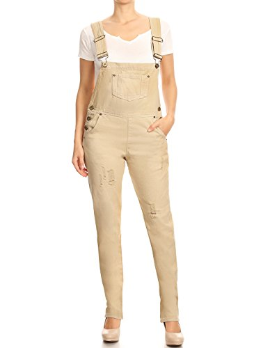Anna-Kaci ANNA-KACI Damen Blue Gerades Bein Taschen Overall Jeans-Latzhose