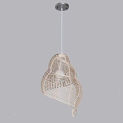 ZLMAY Chandelier Retro Wicker Light Fixtures Pendant Light Conch Rattan Shades Weave Lamp Dinging Room Bamboo Ceiling Lam (Color : Coffee, Size : 25cm)