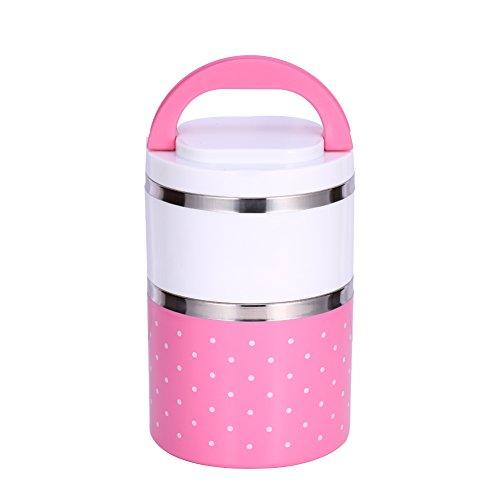 Scatola Isolamento di Pranzo in Acciaio Inossidabile, Contenitore Portatile Bento Box con La Maniglia Carino DOT, Modello 1/2/3 Livelli (Colore : Rosa