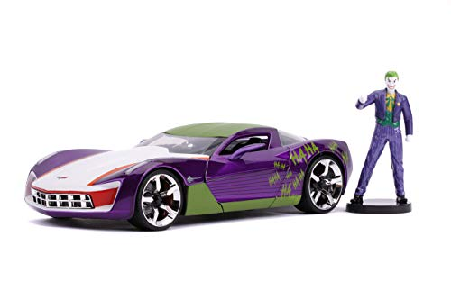 Jada Toys Hollywood Rides DC Comics Joker & 2009 Chevy Corvette Stingray Concept Die-Cast Car, 1:24 Scale Vehicle with 2.75' Die-Cast Collectible Figure 31199