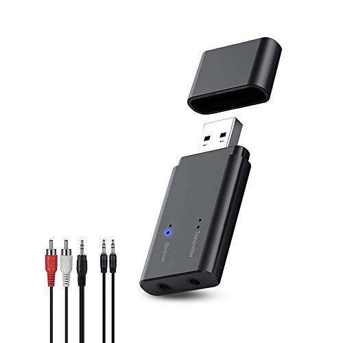 Greatzer USB Bluetooth Adapter 5.0,Empfänger und Transmitter 2 in 1 USB Dongle,Wireless Music Adapter mit 3,5mm Digitales Audiokabel Für TV,PC,Auto,Kopfhörer,Projektor,Handy,Tablet,Heim Stereoanlage