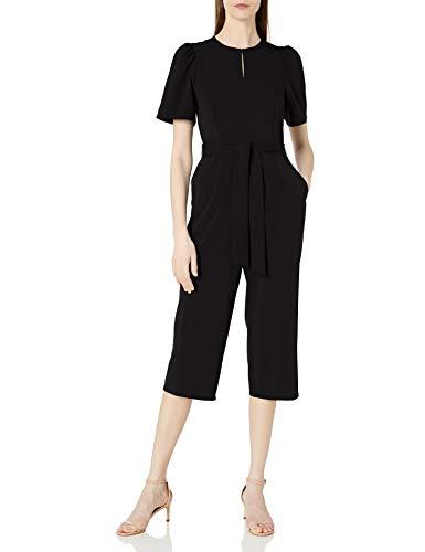 Amazon Brand - Lark & Ro Women's Puff Sleeve Split Neck Belted Crop Length Jumpsuit, Black, 2
