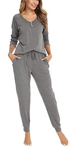 Vlazom Schlafanzug Langarm Winter Zweiteiliger Pyjama warm Set für Damen Zuhauseanzug Sleepwear