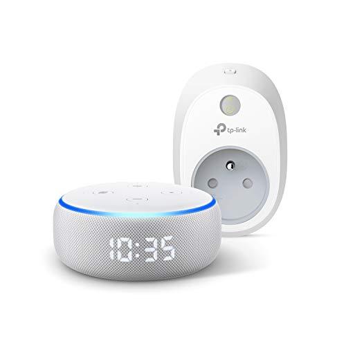 Echo Dot (3ème génération), Enceinte connectée avec horloge et Alexa + TP-Link HS100 Prise connectée Wi-Fi, Fonctionne avec Alexa