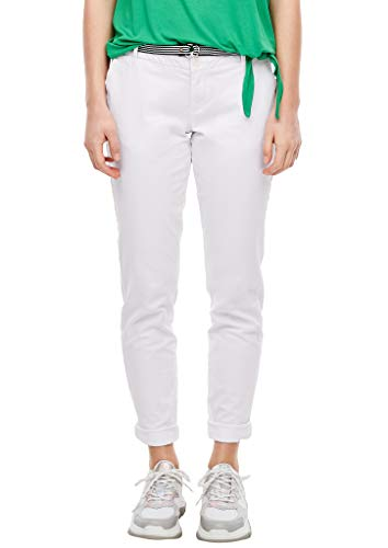 s.Oliver Damen Regular Fit: Chino mit Gürtel white 44.32