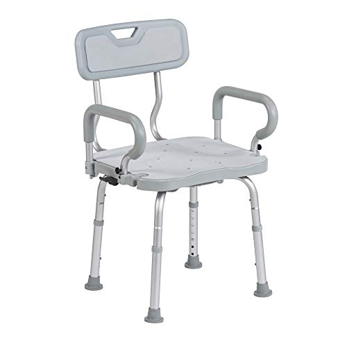 Drive Medical Preservetech 360-Degree Swivel Shower Chair with Arms & Back, Grey