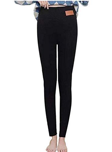 Vertvie Femme Leggings d'hiver Collant Polaire Chaud Hiver Super Épais Leggings Thermique Velours Pantalon de Crayon Extensible Slim (XL, Noir 1)