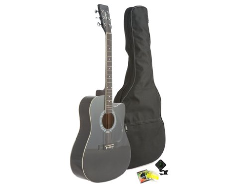 Fever Dreadnought Cutaway Acoustic Guitar Black with Bag, Tuner and Strings, FV-700C-BK