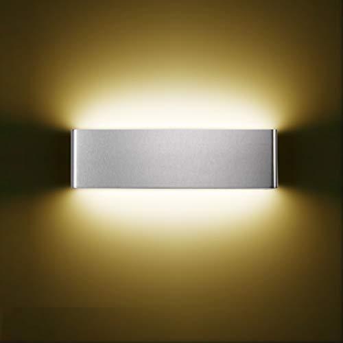 XIAJIA-12W LED Lámpara de pared Interior,Moderna Apliques de Pared,Moda Agradable Luz de Ambiente, AC85-265V, Longitud 30cm,Blanco Cálido/Plata/aluminio cepillado