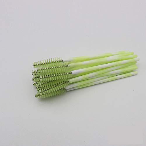 Yiwa Peigne à sourcils de barre colorée de sourcil de barre colorée de brosse de cils en nylon jetable vert