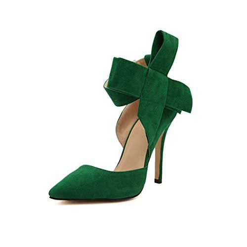 Raylans Stiletto Zapatos de tacón Alto con Lazo Grande para Mujer, Verde (Verde), 37.5 EU