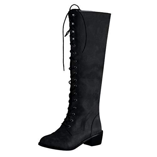 DOLDOA Stiefel Damen,Outdoor Damen Round Toe Niedriger Absatz Schnürschuhe Western Knight Long Boots Schwarz