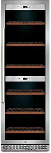CASO WineChef Pro 180 | Weinkühlschrank für 180 Flaschen | zum Einbau geeignet, abschließbar, WiFi-App, 2 Zonen für 5-20°C, UV-Filterglas, Edelstahl