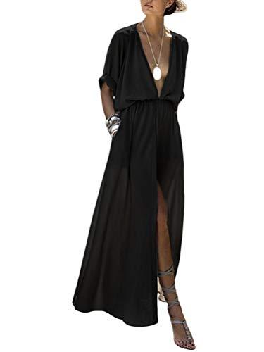 Minetom Freizeitkleider für Damen Sommer Tief Geschnitten Schlitz Strandkleid Maxi Kleider V Ausschnitt Partykleid Schwarz S