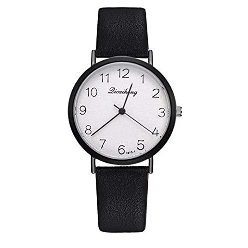 Brazalete Simple acentuó Las Mujeres del Reloj de Manera analógica Reloj de Cuarzo con Cuero de cerámica de Uso múltiple del dial del Metal Reloj de Pulsera Negro