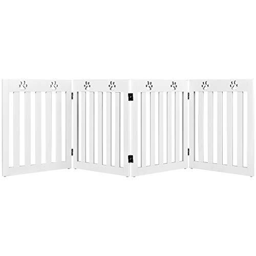 COSTWAY Barrera de Seguridad Plegable para Perros Mascotas Valla Protección para Habitación Puerta Escalera (Blanco, 4 paneles)