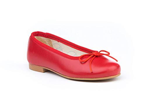 Bailarinas de Piel Fabricadas en España. Disponible Desde la Talla 28 hasta la Talla 41 - Mi Pequeña Modelo 1566V Color Beige,Blanco,Marino,Rojo.