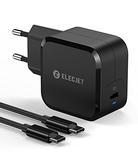ELECJET Cargador Súper Rápido de Samsung 45W USB C | para Galaxy S20 S21 Ultra, Note 10 Plus (PPS) | para MacBook Pro, iPad Pro, iPhone, S10, S10+, Note 10 y más (Carga rápida PD y QC 3.0)