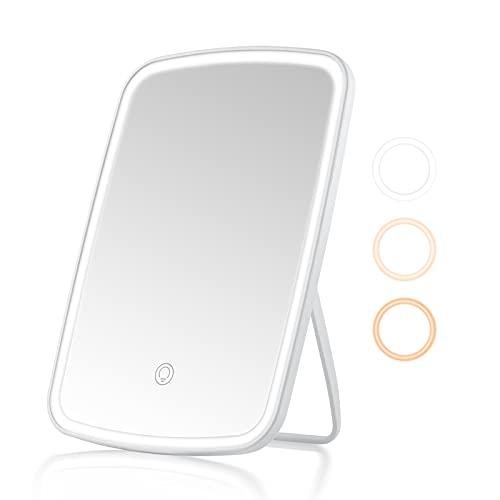 Specchio Trucco con Luci,Specchio con Luce USB Ricaricabile con 3 modalità di illuminazione a colori,Specchio con Luce Luminosità e angolazione della luce regolabili per il bagno della camera da letto