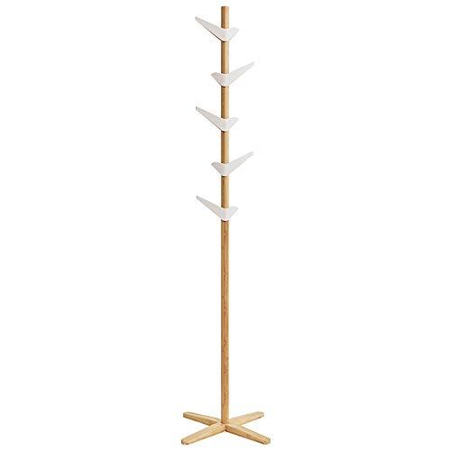Perchero de bambú Moderno Minimalista para Sombreros de árbol Independiente con 5 Ganchos para Ropa, Abrigo, Sombrero, Bufandas, 71,6 x 19,6 x 19,6 x 19,6 Pulgadas
