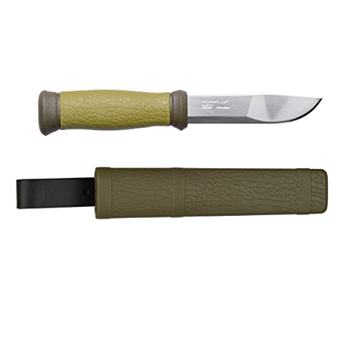 Morakniv Outdoor 2000 Fixed Blade Knife with Sandvik Stainless Steel Blade, 4.3-Inch, Olive Green