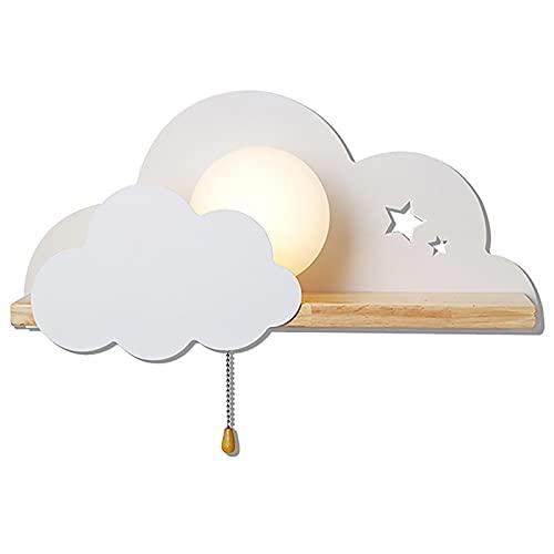 ANKBOY Kinder Wandleuchte mit Zugschalter Nachtlampe Kreative Wolkenform Wandlampe Mit Schalter Rund Milchglas Lampenschirm E27 Weiß Kinderzimmer Deko Madchen Junge Schlafzimmer Wandspot Lampe