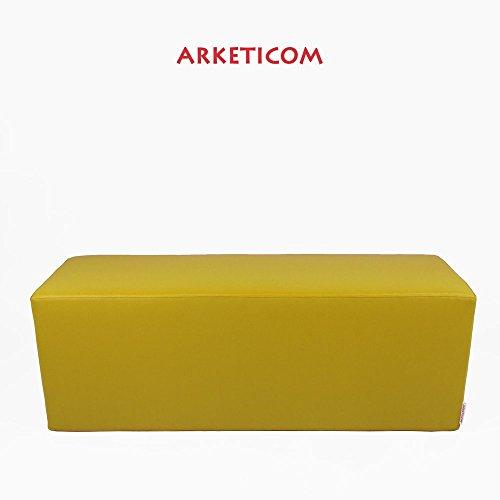 Arketicom Horizon Pouf Panca Poggiapiedi in Ecopelle e Poliuretano Espanso Rigido ad Alta Densita' Colore Giallo (puf Puff pouffe Seduta) Misura 42H x 42L x 84L cm