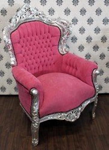 Casa Padrino Barock Sessel King Rosa Silber