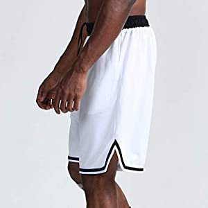 UULIKE Men's Shorts Casual Solid Color Thin Fast Drying Loose Fit Drawstring Trouser with Pocket Sport Outdoor Workout Running or Gym Training Lightweight Beach Pants White