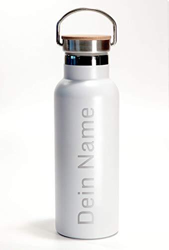 isolierte Trinkflasche, pulverlackiert, 0,5L, weiss oder schwarz, mit Bambusdeckel inkl. Namensgravur