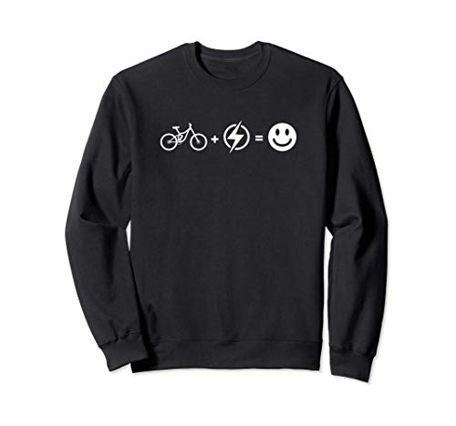 Fahrrad + Elektro = Happy Face | Lustiges E-Bike Sweatshirt