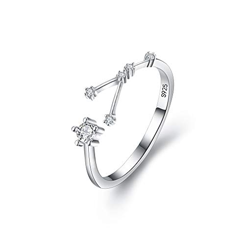 Clearine 925 Sterling Silver Cubic Zirconia Cancer Horoscope Zodiac Constellation Astrology Adjustable Statement Ring for Women