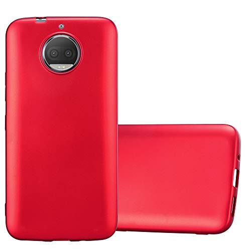 Cadorabo Hülle für Motorola Moto G5S Plus - Hülle in METALLIC ROT – Handyhülle aus TPU Silikon im Matt Metallic Design - Silikonhülle Schutzhülle Ultra Slim Soft Back Cover Hülle Bumper