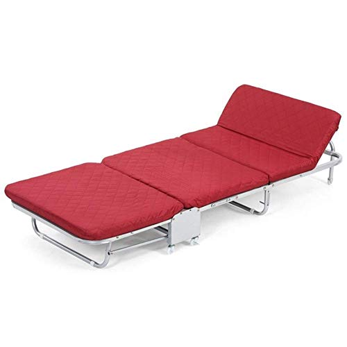 Hardboard Three-Fold Bed Metal Sun Lounger, Folding Sunbed,Static Load, Rust-Resistant, with Breathable Synthetic Fabric, Backrest 5 Position Adjustment, 200 Kg Max