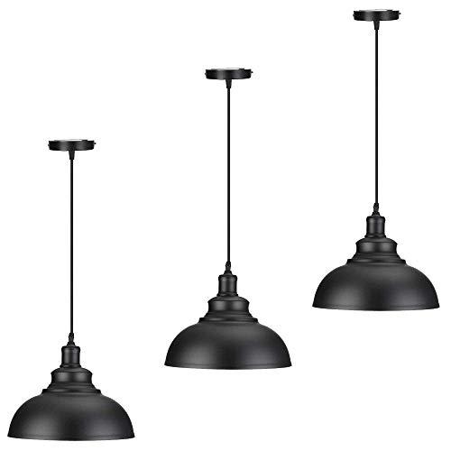 LIXHZJ Lámpara Colgante de la Vendimia DcVoltage Industrial Retro Metal Domo/Cuenco en Forma de Color Negro Colgando luz en el Acabado Pintado? Código del Producto: WW-62 (Size : Triple)