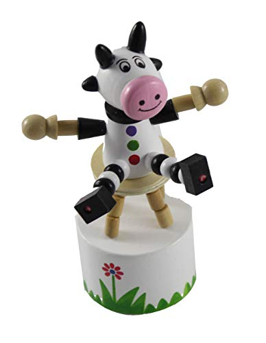 Curious Minds Busy Bags 1 Wooden Collapsing Thumb Dancing Push Puppet Animals - Wood Toy - OT (Cow)